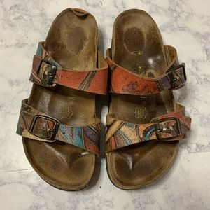 Birkenstock's printed leather sandals